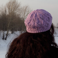 Lavender Lace Cotton Hat Hand Knit in Estonia by SunnyHands