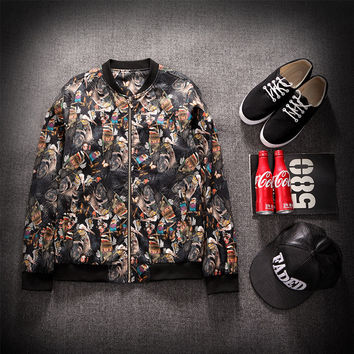 Autumn Men's Fashion Stylish Print Jacket Hoodie [9070625475]