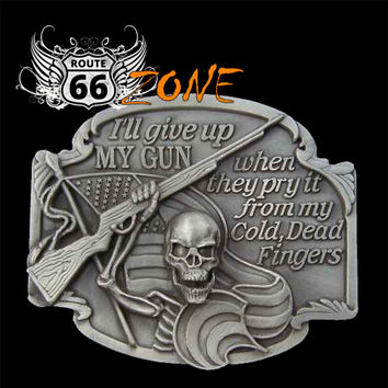 """I'll Give Up My * When They Pry It From My Cold, Dead Fingers - Biker Skull Belt Buckle"