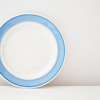 Vintage pottery plate - blue strips - made in Soviet Union