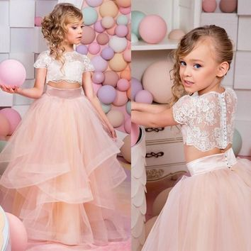 Vestidos Primera Comunion 2017 Two Piece Ball Gown Flower Girl Dress Lace Toddler Glitz Pageant Dresses Pretty Kids Prom Gown