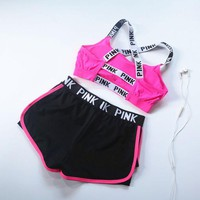 Victoria's Secret PINK Fashion Women Casual Summer Sports Bra Shorts Jogging Shock Yoga Fitness Vest Underwear Two Piece Sets(3-Color) I