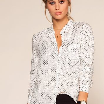 Natalie Polka Dot Top - White
