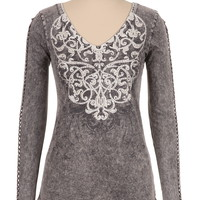 maurices premium embellished braided sleeve tee
