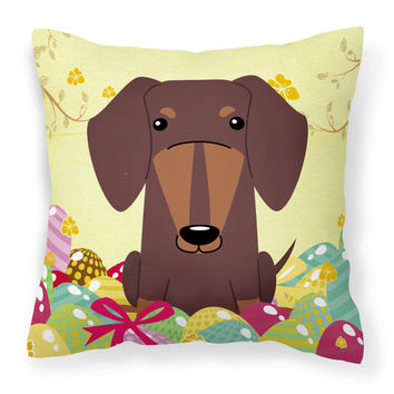 Easter Eggs Dachshund Chocolate Fabric Decorative Pillow BB6131PW1818
