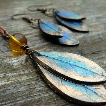 Peacock Feather Color Leaf Necklace and Earring Set  by JustClayin