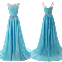 Chiffon Sky Blue Prom Dresses,A-Line Prom Dresses,Long Evening Dress