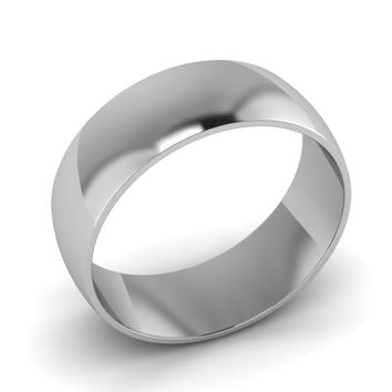 Classic Mens Wedding Ring Band, 14K White Gold, 8.00mm Wide