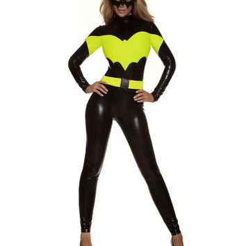 MOONIGHT 4 Pcs Faux Leather Batman Costume Women Halloween Costumes For Women Batman Adult Christmas Carnival Clothes Jumpsuits
