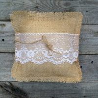 Burlap Ring Bearer Pillow with Lace and Twine, Burlap Pillow, Burlap Wedding Pillow, Rustic Wedding Decor, Shabby Chic Country Wedding