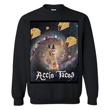 Galaxy Cat Wizard Accio Summoning Tacos - Gildan Sweatshirt