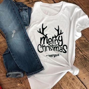 Merry Christmas Everyone T-shirt funny reindeer graphic women unisex tees cotton pastel aesthetic tumblr party tops gift shirt