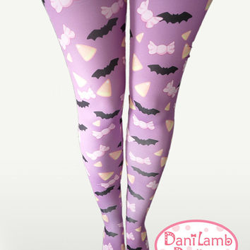 Bats Candy Corn Printed Tights Stockings Pastel Goth Batty Creepy Cute Candy Sweets Size XS Through 3XL *PREORDER*