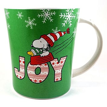 Snoopy Woodstock Coffee Mug Joy Holiday Cup 14oz Green Peanuts Gibson k406