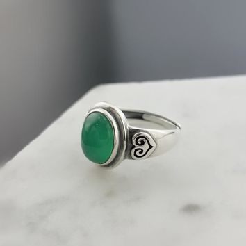 Natural Green Onyx Stone Solid Silver 925 Rings Women Retro Brief Design 925 Sterling Silver Jewelry Natural Stone Cuff Ring