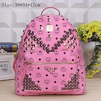 MCM Fashion Sport Laptop Bag Shoulder School Bag Backpack Pink G-YJBD-2H