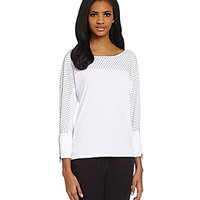 Calvin Klein Polka-Dot-Print Beaded Dolman Sleeve Top