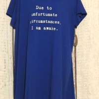 Plus size 2X Sleep Shirt Tee Nightgown Blue new Graphics