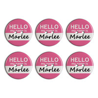 Marlee Hello My Name Is Plastic Resin Button Set of 6