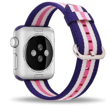 Band For Apple Watch Pink Stripes Woven Nylon Fabric Buckle Watchband 38mm 42mm Sport Strap For iWatch 2 Watches Accessories