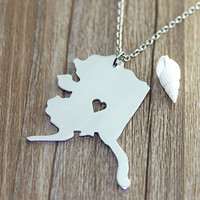 I heart Alaska Necklace - Alaska Map Pendant - State Necklace - State Charm - Map necklace - Map Jewelry