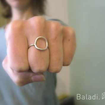 sterling silver ring hand made / simple / novelty / every day / genital / engagement / matt finish / gift / girl / woman / circle / round