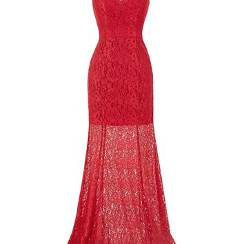 Red Lace Evening Dress 2018 Sexy Cap Sleeve V-Neck V-Back Formal Party dresses Floor Length Long Evening Gown Prom Dresses