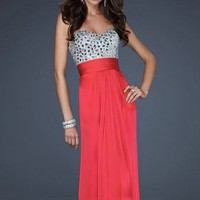 Red A-line Floor-length Strapless Dress