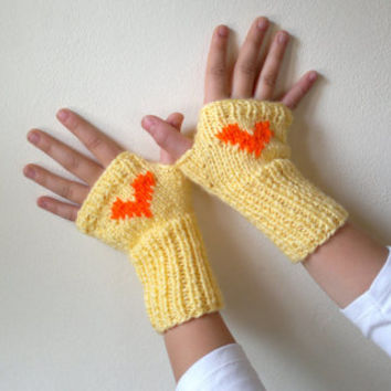 Childrens mittens, teenage fingerless gloves in yellow with orange heart, gift for her, gift for kids, kids clothing