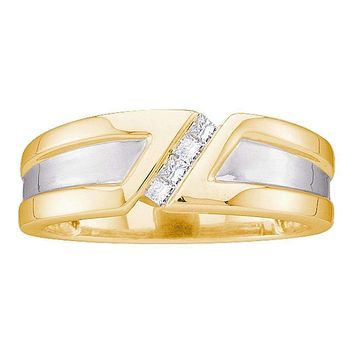 14kt Yellow Gold Men's Princess Diamond Single Row Two-tone Wedding Band Ring 1/6 Cttw - FREE Shipping (US/CAN)