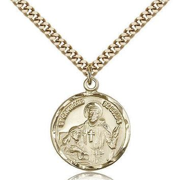"Saint Camillus Of Lellis Medal For Men - Gold Filled Necklace On 24"" Chain - ... 617759759464"