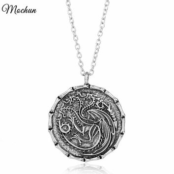 MQCHUN Game of Thrones Dragon Pendant Necklace House Targaryen Fire And Blood Link Chain Necklace Vintage Silver Color Jewelry