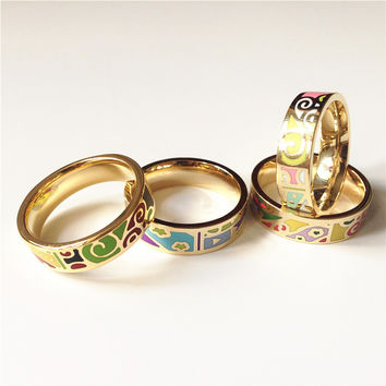 Size Yellow 6.5  0.6cm Width  Plated Stainless Steel Flowers Enamel antique Ring  Elegant Jewelry Drop Shipping J68