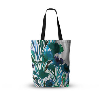 "Ebi Emporium ""Petal For Your Thoughts Teal"" Turquoise Green Everything Tote Bag"
