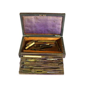 Drafting Tool Set, Antique Office Decor, Vintage Architects Gadgets, Retro Drawing Device