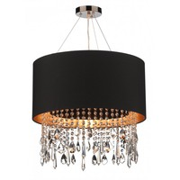 Dar Lighting Lizard Single Light Black Ceiling Pendant with Gold Inner - Dar Lighting from Castlegate Lights UK