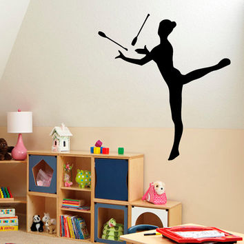 Gymnast Clubs Wall Decals Gymnast Decal Girl Room Gym Decor Decal Vinyl Sticker Home Decor Vinyl Art Wall Decor Nursery Room Decor KG199