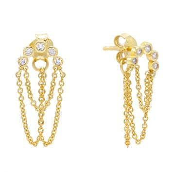 Bezel Double Chain Stud Earring