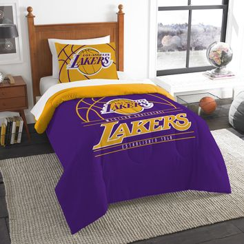 """Lakers OFFICIAL National Basketball Association, Bedding, """"Reverse Slam"""" Printed Twin Comforter (64""""x 86"""") & 1 Sham (24""""x 30"""") Set  by The Northwest Company"""
