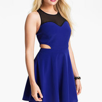 Lush Clothing Mesh Illusion Cutout Skater Dress (Juniors) | Nordstrom