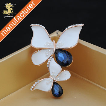 2016 newest fashion double butterfly blue brooch crystal drop glass jewelry for gift wedding women