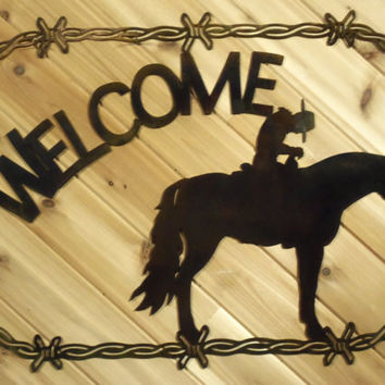Metal Welcome Sign Metal Wall Art Cowboy on Horse in Barbed Wire By PrecisionCut