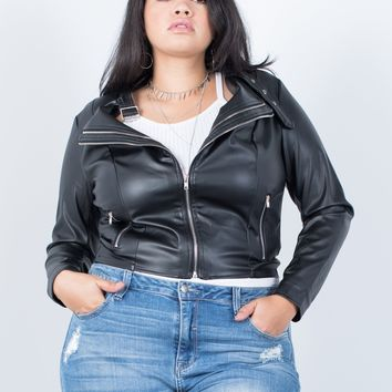 Plus Size Effortless Leather Jacket