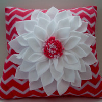 Pink and white chevron dahlia flower pillow,16 inch chevron pillow,pink and white fleece pillow