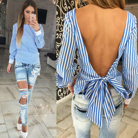 Sexy Bowknot Backless Striped Shirt Long Sleeve Blouse Women Novelty Female Top