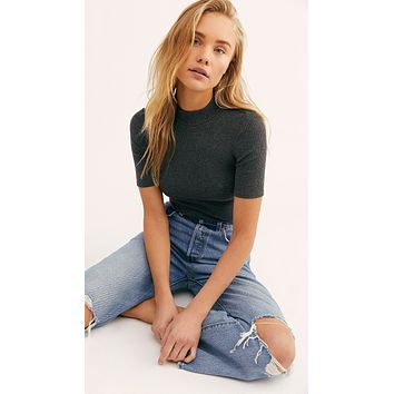 Free People Good Vibes Ribbed Tee Black