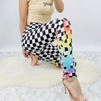 017 autumn and winter models new chessboard element flame element Slim yoga [240275554330]