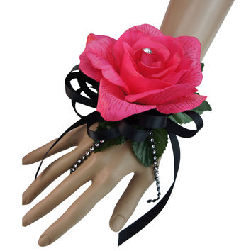 Wrist Corsage-Hot pink rose with rhinestone-Ribbon Color can be picked
