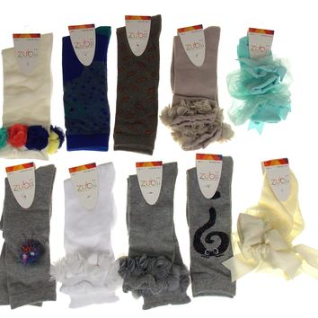 Zubii Girls Socks Size 4 Lot of 11 Pairs Gray White Ruffle Lace Flower Princess