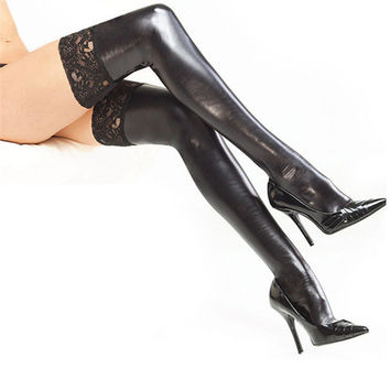 Sexy Women Lingerie Luxury Faux Leather PVC Thigh High Stocking Stretch Lace Up Fetish Stockings Black